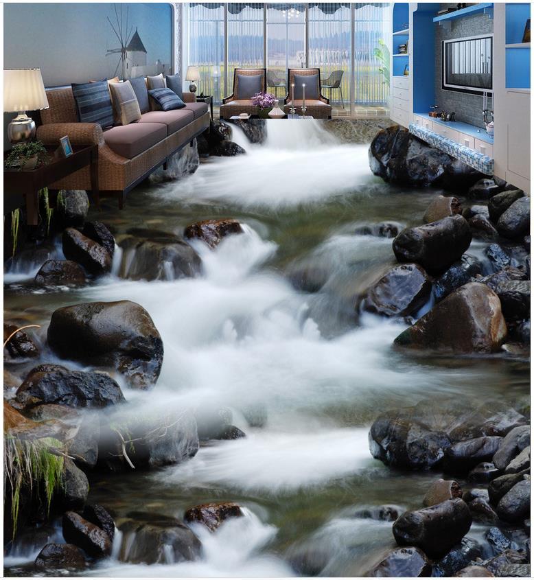 3d rivers living room bathroom floor tiles pvc waterproof floor custom photo 3d
