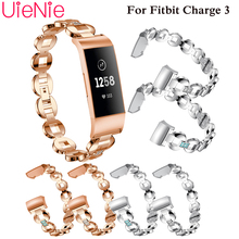 Aluminium Alloy Inlaid rhinestone strap For Fitbit Charge 3 frontier/classic strapband smart watch wristband