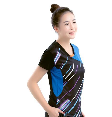 Новая мужская одежда для бадминтона, рубашка для игры, летняя женская спортивная футболка с коротким рукавом для настольного тенниса, быстросохнущая футболка для Бадминтон Спорт - Цвет: women black jersey