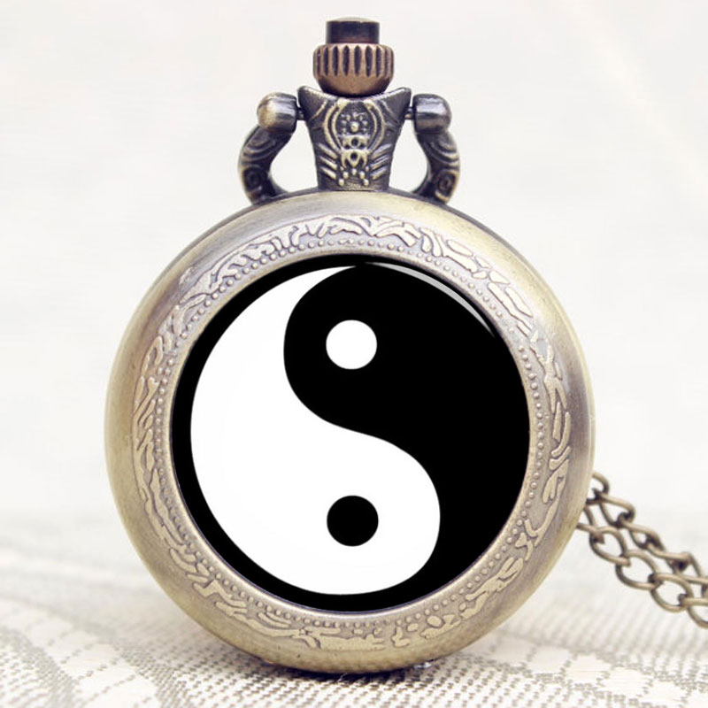 New Chinese Taoism Tai Chi Logo Bronze Quartz With Necklace Chain Unique Gift For New Year/Birthday/Christmas