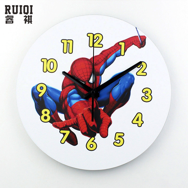 Spider Man Cartoon Mute Wall Clock Safe Wall Watches Home Decor Kids Living Room Wall Clocks 3d Children Room Clock Watch Gift