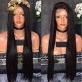 Venta al por mayor Brasileña Virginal Del Pelo recto suave sedoso Glueless peluca delantera del cordón/pelucas Llenas Del Cordón Nudos Blanqueados para Negro mujeres