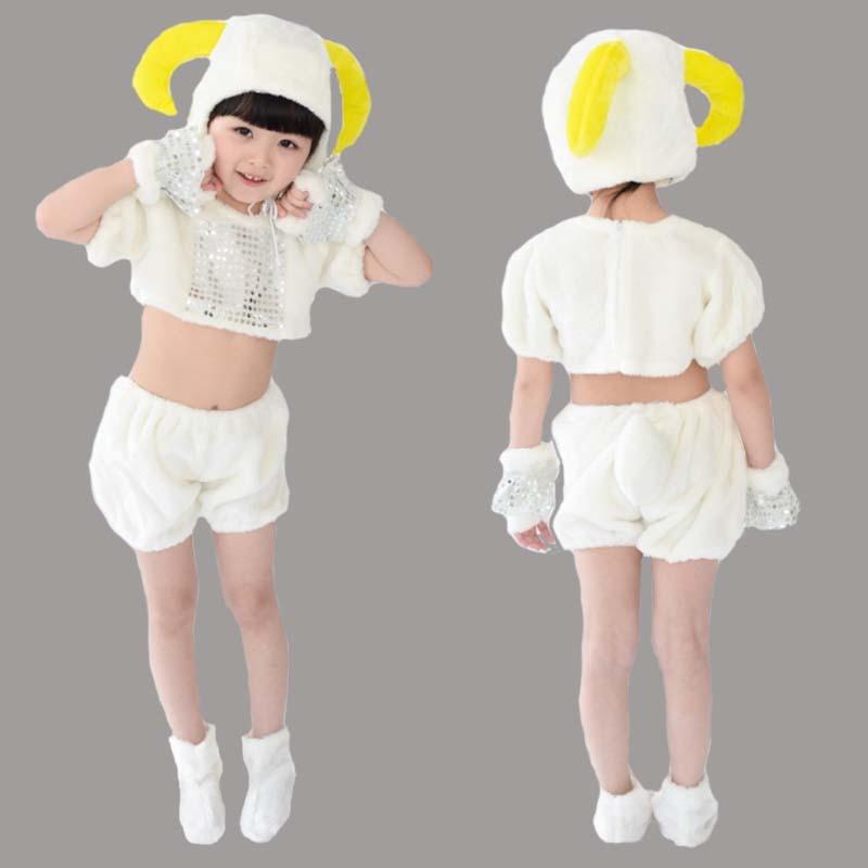 Children kid plush  ram sheep lamb costume halloween party cosplay performance costume hat gloves