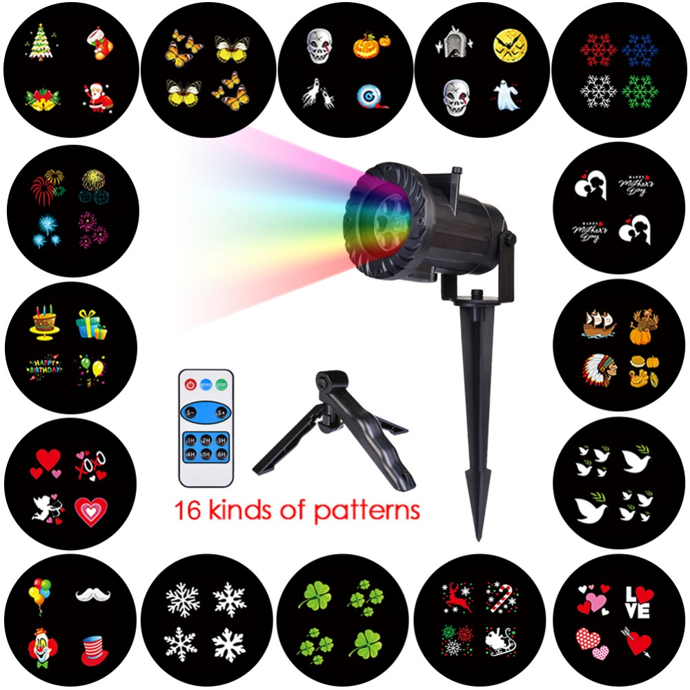 16 Patterns Christmas Laser Snowflake Projector Outdoor LED Waterproof Disco Lights Home Garden Star Light Indoor Decoration