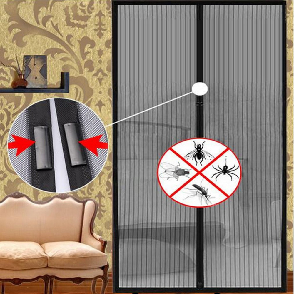 Black Anti Mosquito Curtain Hands-Free Magnetic Soft Door Screen Durable Fly Bug Mesh Summer Style For Living Room 100*210cm