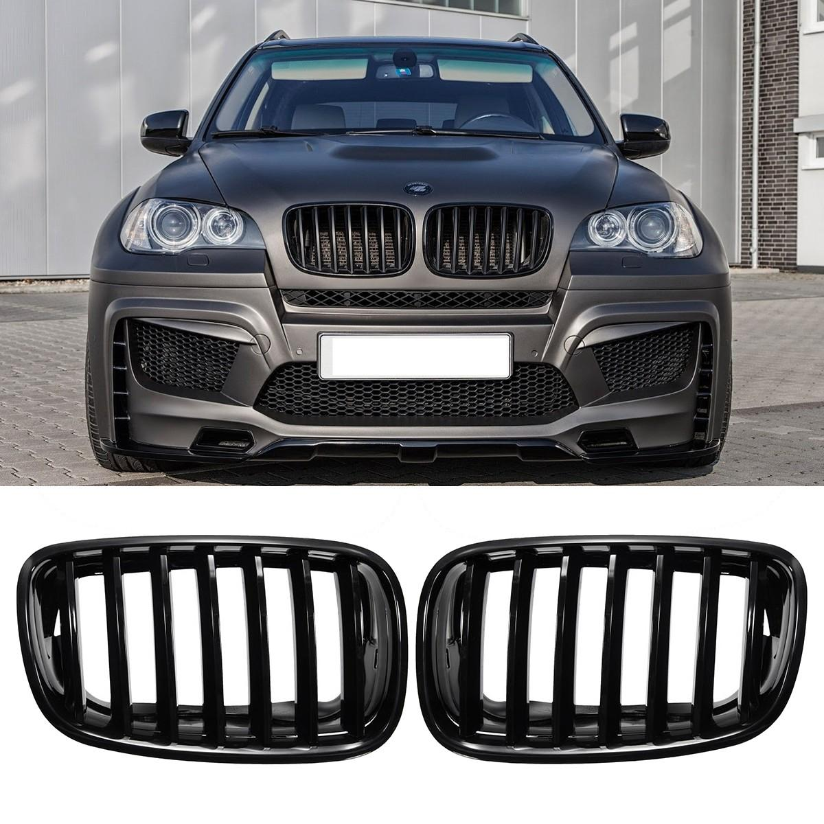 Pair Shiny Black Front Bumper Hood Kidney Sport Grills Grille for BMW E70 E71 2016 new a pair front grilles left and right double line grille gloss black front grills for bmw 3 series e46 2002 2004 4 door