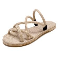 цена на Women's Summer Shoes 2019 Gladiator Rope Sandals Women Shoes Female Beach Sandals Flat Sandles Slides Flip Flops buty damskie