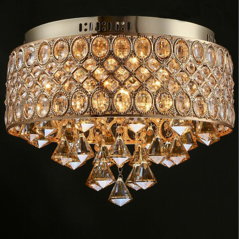 New crystal round French gold romantic luxury chandelier living room - Indoor Lighting