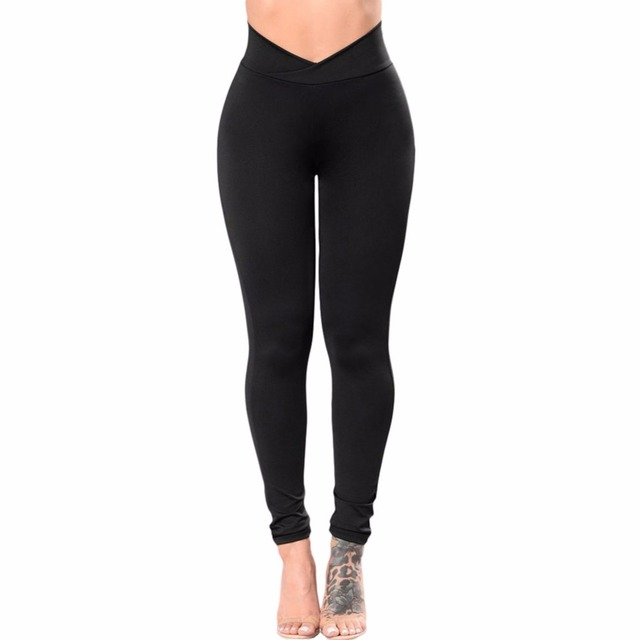 547fdaa1c4bdc 2017 High Waist Slim Fitness Leggings Women Black V Cut High Rise Sporting  Workout Legging Sporting Fashion Leggings