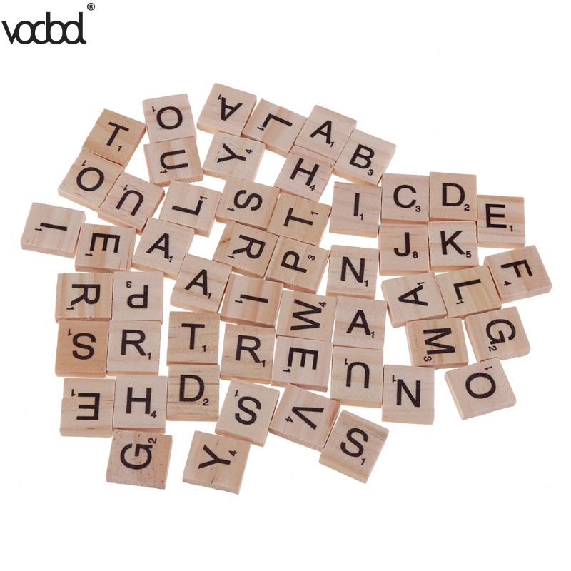 100pcs/pack 18x20mm Alphabet Block 26 English Letters Printed Wood Chips Educational Toy for Language Learning