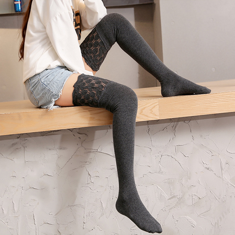 2019 Autumn Cotton Breathable Long Socks Female Sexy Thigh Sport Stockings Lace Top Design Over Knee High Stocking High Elastic