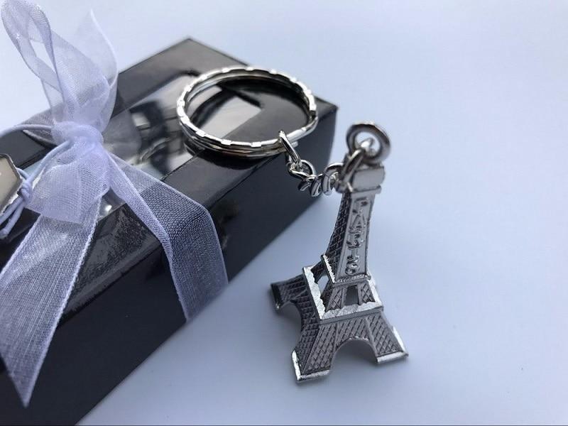 100 stücke Silber Eiffelturm Schlüsselanhänger in Geschenkbox Paris ...