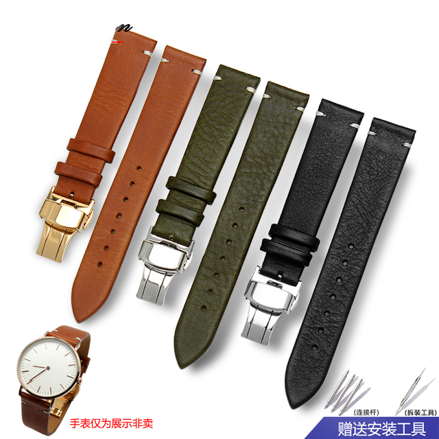 63a667c2bd1 Watchbands 16 18 20 22mmItalian Genuine Leather Dark Brown Black Man Women  Handmade Vintage Wrist Watch Band Strap Metal Buckle