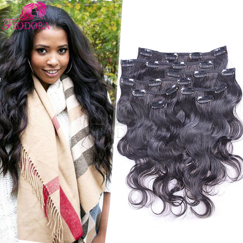 Clip In Human Hair Extensions Body Wave African American Clip In