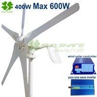 5 Blades 400w Small Wind Mill Max Power 600W 12v 24v Wind Generator 600w Wind Solar