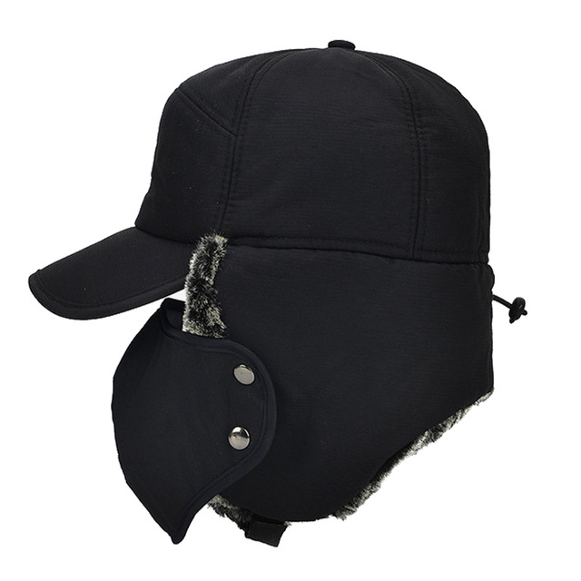 AETRUE Winter Hat Men Bomber Hats For Men Women Thick Balaclava Cotton Fur Earflap Warm Caps Skull Mask Male Winter Bomber Hat