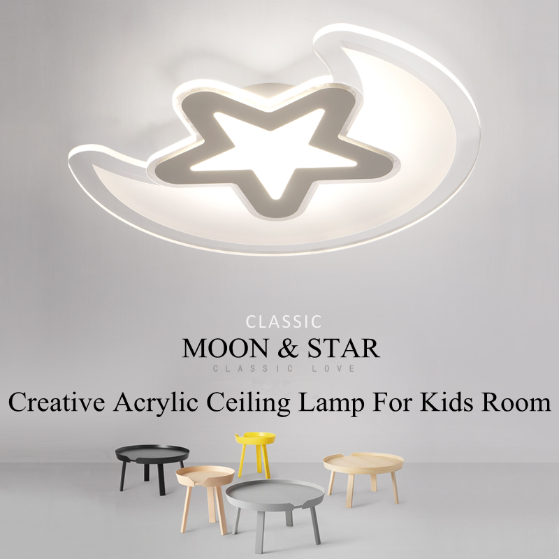 Creative Moon&Star Kids Room Ceiling Lamp White Acrylic Ceiling Lights Lustre Luminaria Led Home Lighting Abajur Lampen Avize