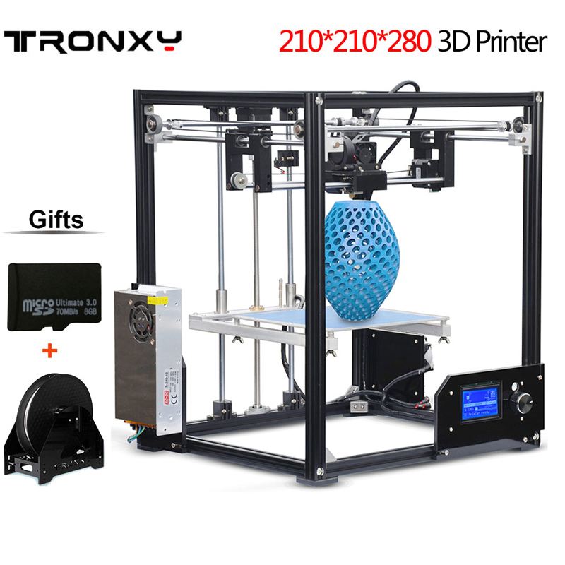Free DHL shipping Large Print Area 210*210*280mm 3D Printer Aluminium Structure Filament 8GB SD Card As Gift TRONXY 3d printer 2017 classic tevo tarantula i3 aluminium extrusion 3d printer kit 3d printing 2 roll filament sd card titan extruder as gift