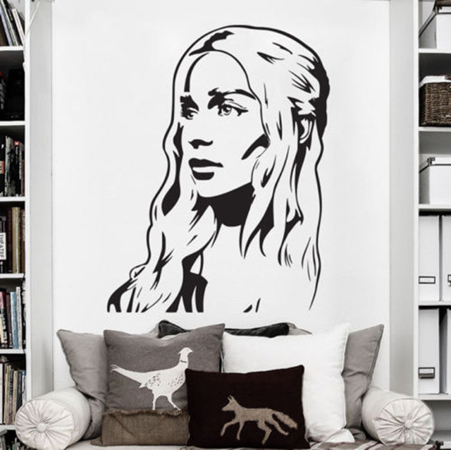 58x75cm High Quality Vinyl Wall Art Decals Sticker Game Of Thrones Daenerys  Targaryen Khaleesi Wall Sticker