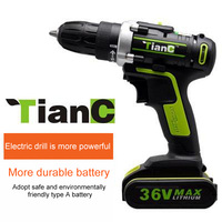 25V 12V 18V 36V Double Speed Electric Drill Cordless Screwdriver Rechargeable Lithium Battery Hand Drill for Cleaning Brush