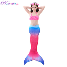 Little Mermaid Tails for Girls Swimming Costume Rainbow Tail Cosplay Princess Ariel Swimsuit Kids Children Swimmable