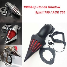 купить For Honda Shadow Spirit 750 ACE 750 Motorcycle Air Cleaner Kit Intake Filter Black Chrome 1998 1999 2000 2001 2002 2003 2004 онлайн