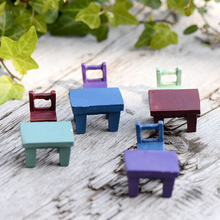 Mini Tables Chairs Furniture Figurine Crafts Landscape Plant Miniatures Decors Lovely Fairy Resin Garden Ornaments Garden supply cheap Architecture Folk Art Wood
