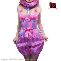 Sexy Clown Latex bra clothes with boxer short bows neck collar lolita sets Rubber bodycon playsuit lacing at back QZ 073