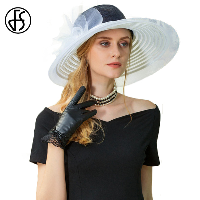 a5d85cb9fea FS Dark Blue And White Summer Sun Hat For Women With Bowknot Wedding Derby Hats  Large