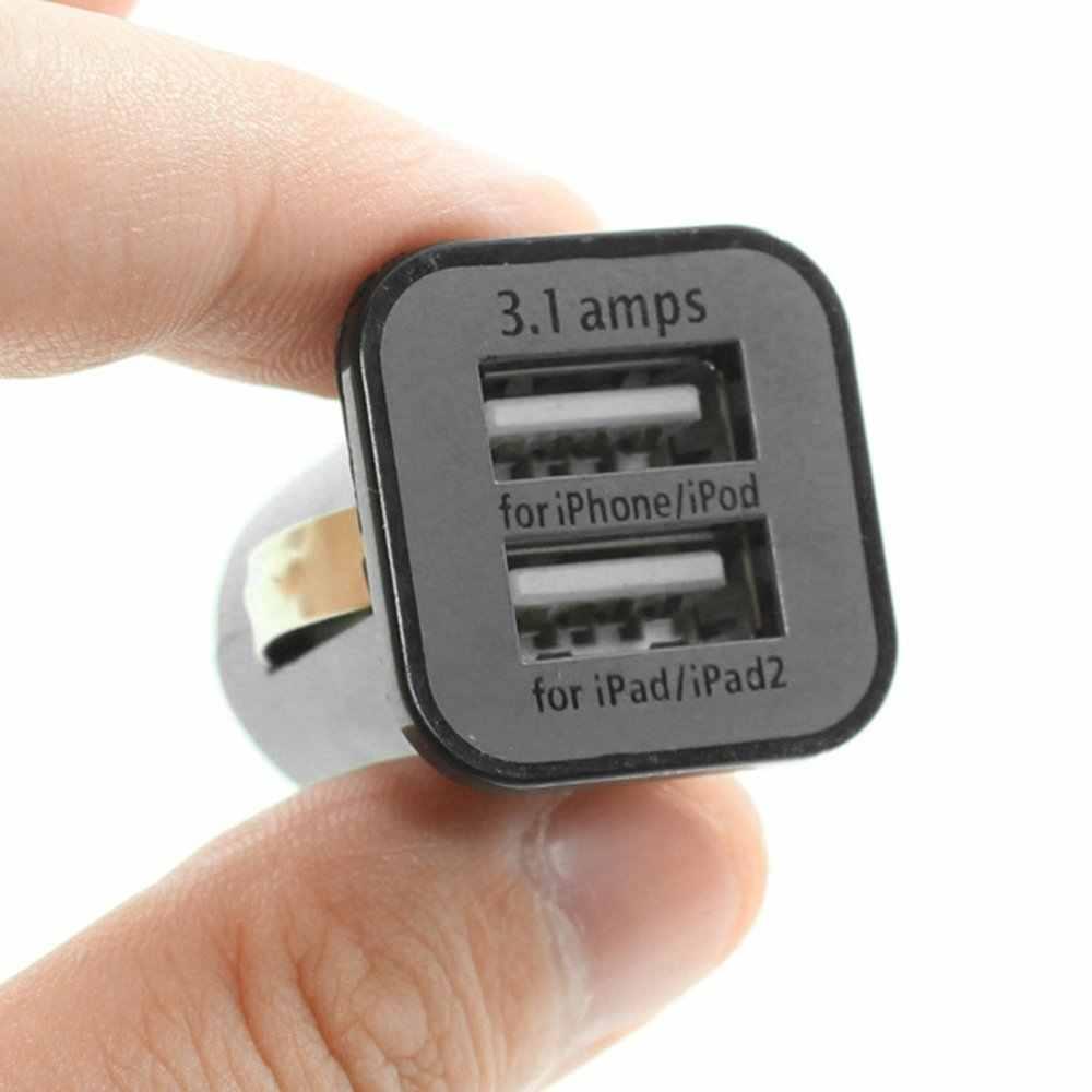 USAMS Universal 12V Mini portátil 3.1A Dual puertos USB coche vehículos cargador para teléfonos móviles Tablet PC dispositivos