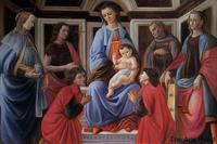 Hand Painted Jesus Christ Painting Madonna and Child with Six Saints by Sandro Botticelli Wall Art Oil on Canvas Portrait