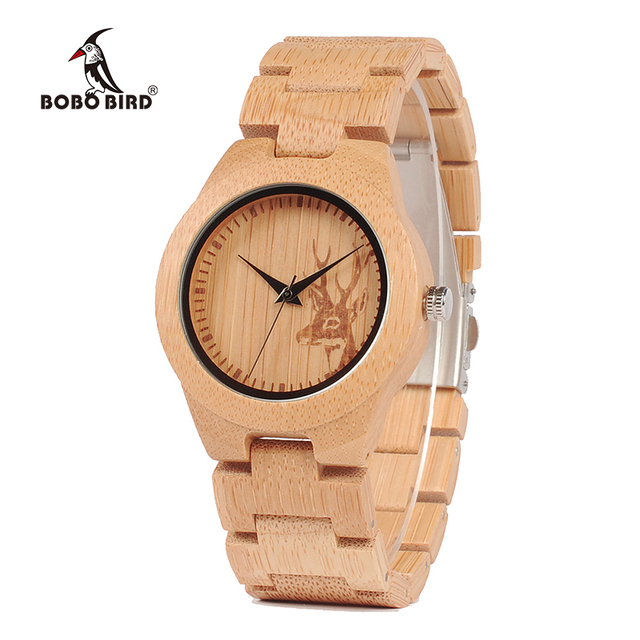 BOBO BIRD V-E04 Mens Womens Wooden Watch Engraved Deer Design Bamboo Dial Ladies