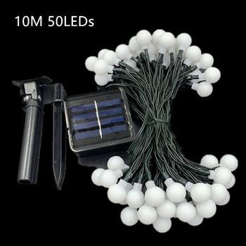 50 LEDS Pequeña Bola Blanca Lámpara Solar 10M De Potencia LED Cadena Luces De Hadas Guirnaldas Solares Jardín Decoración De Fiesta De Navidad Para Exterior