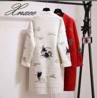 2018 Xnxee autumn and winter new long sweater sweater cardigan sweater women's jacket Korean embroidery fashion sweater