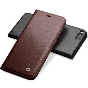 Image 3 - Capa carteira flip de couro genuíno qialino, proteção estilo carteira para xiaomi mi 6, mi6 saco do telefone da ranhura