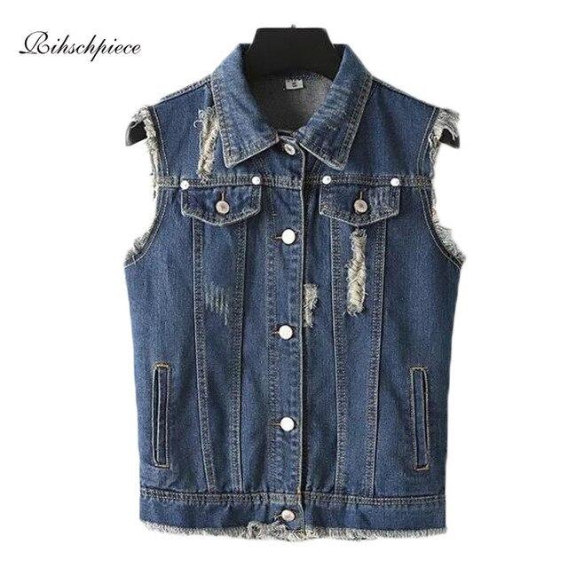 Ripped Short Denim Vest Women Sleeveless Jeans Vest  Spring Jacket Summer Waistcoat RZF026