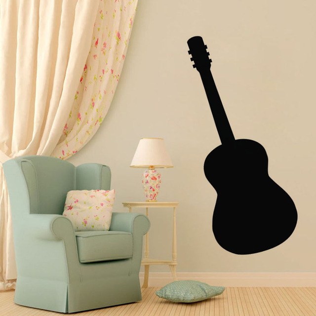Guitar Silhouette Wall Stickers Kids Rooms Decorations Removable Vinyl Decals Musical Instrument Home Decor