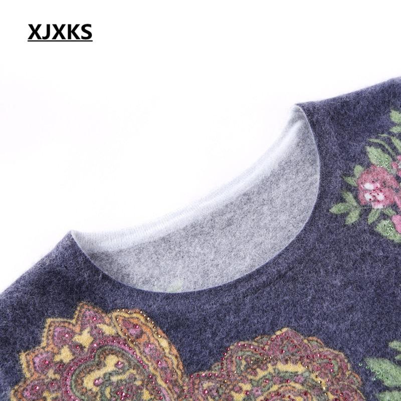 2018 Diamant Robe Bleu En Pull Xjxks Taille À Long Mode marine Nouvelle Lâche Grande Femmes Rose Automne Hiver Impression Cachemire XOZiuPk