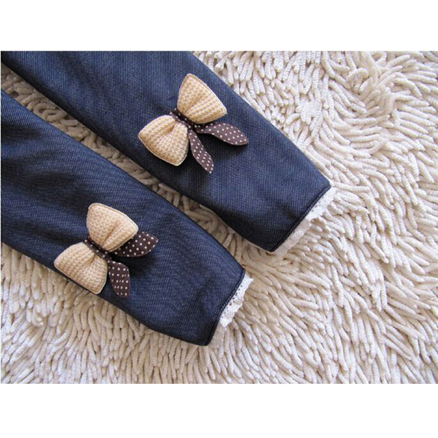 Girls Imitated Jeans with Bow Warm Winter Leggings