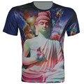 Tamaño XS-6XL Tops Nuevo 2016 Verano hombres Galaxia Camiseta la figura De Buda Impreso Manera de la Marca T-Shirt Camisetas Cuello Redondo Tops