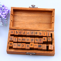 30Pcs Lot English Uppercase And Lowercase Letters Wood Stamps Alphabet Stamp Vintage Wooden Diy Diary Seal