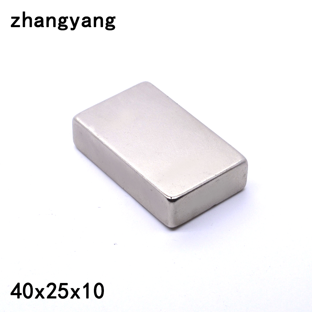1PCS 40X25X10mm Super Strong Block Cuboid Neodymium Magnets 40 x 25 x10mm Rare Earth 40*25*10mm 40mm*25mm*10mm