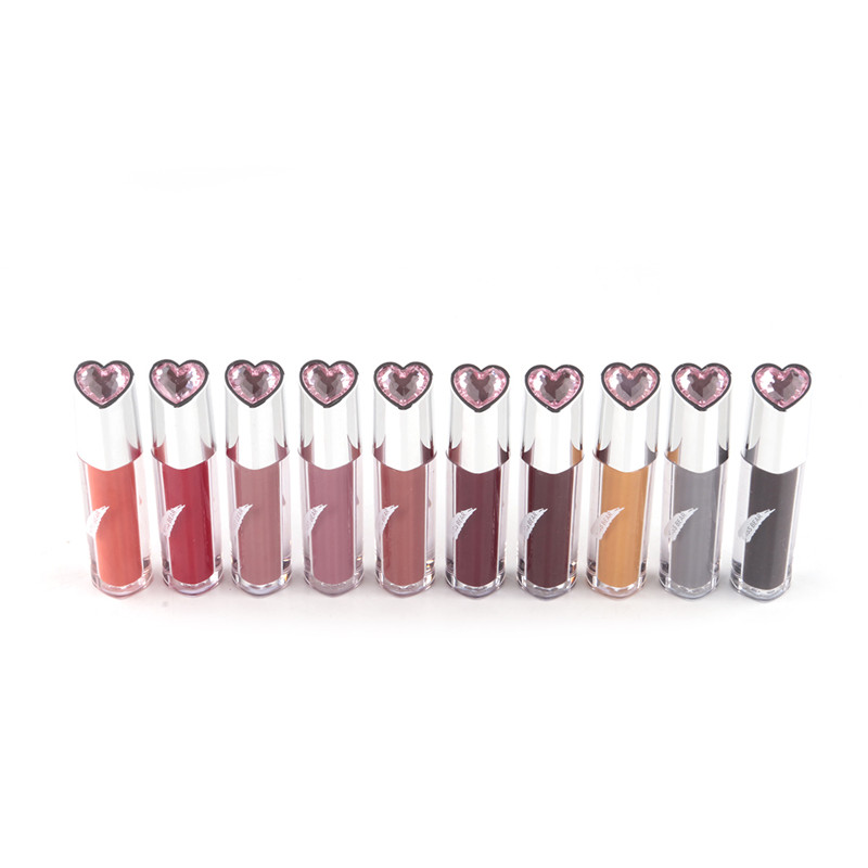 10 Pcs 10 Colors Waterproof Heart Shape Make Up Lip Pencil Long Lasting Smooth Liquid Matte
