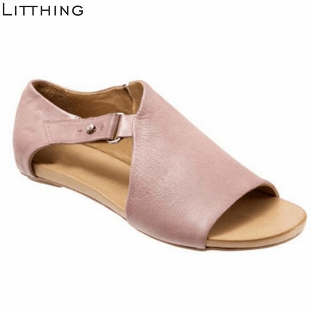 Litthing Retro Women Shoes Casual  Flops Flats Sandals 2019 Summer Ladies Mature Concise Summer Beach Shoes Woman Low Heels