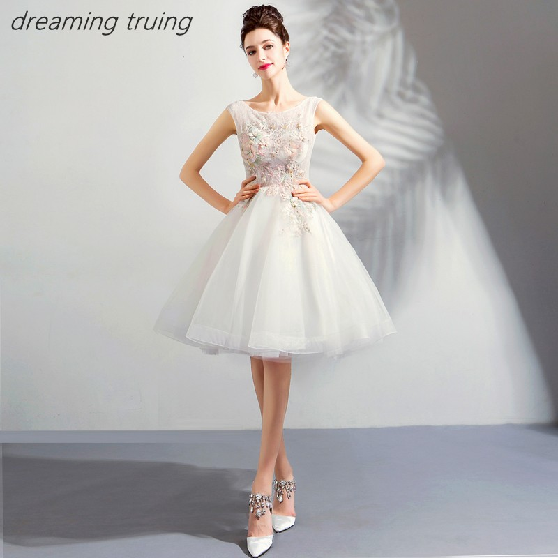 2019 Knee Length White   Cocktail     Dresses   With Colorful Flowers Prom   Dresses   Backless Junior Party Graduation   Dress   Vestidos