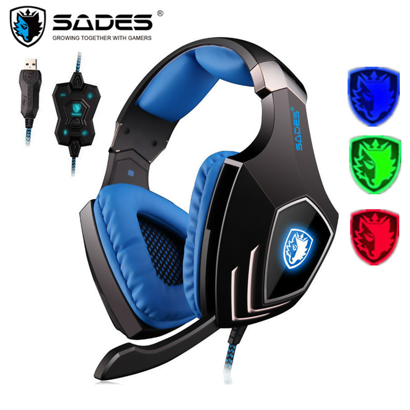 SADES A60 PC Gamer Headset USB 7.1 Surround Sound Pro Gaming Headset Vibration Game Headphones Earphones With Mic For Computer sades r1 usb 7 1 surround stereo sound vibration gaming headphone with microphone led light pc gamer gaming headset for computer