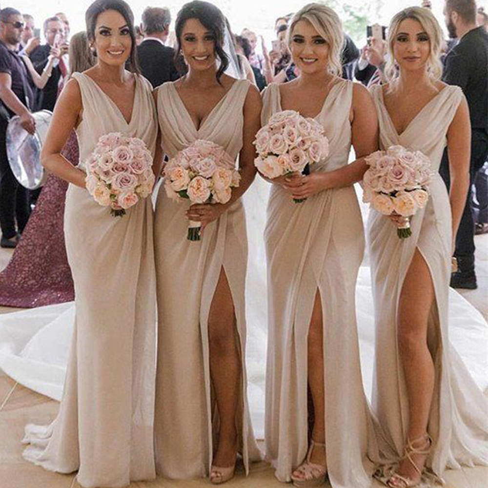 Ivory   Bridesmaid     Dresses   2019 V Neck Pleats Draped Side Slit A Line Chiffon Wedding Guest   Dresses
