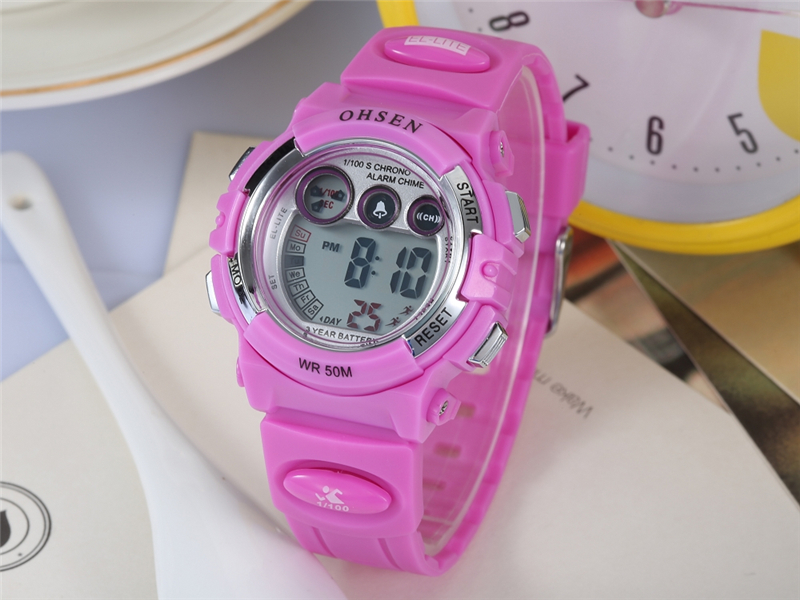 Fashion OHSEN Brand Sports Watches Children LED Digital Watch Kids Multifunctional Wristwatches Alarm Stopwatch Student Clock (30)
