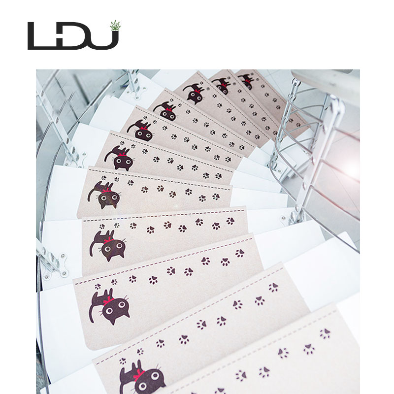 13Pcs Self-adhesive Non-slip Stair Cat Carpet Mat Floor Staircase Carpets Protector Mats Safety for Kids Elders and Pets