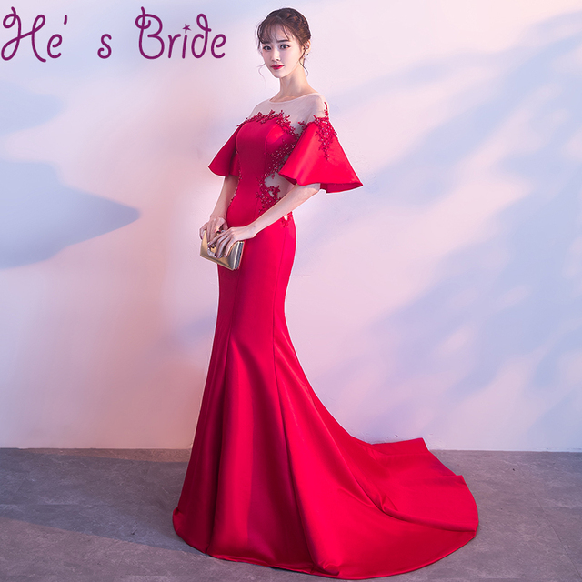 dd7839ae56c Evening Dress Elegant Red Sheer Scoop Neck Half Sleeves Zipper Back  Illusion Sweep Train Satin Lace Sequins Party Prom Dress